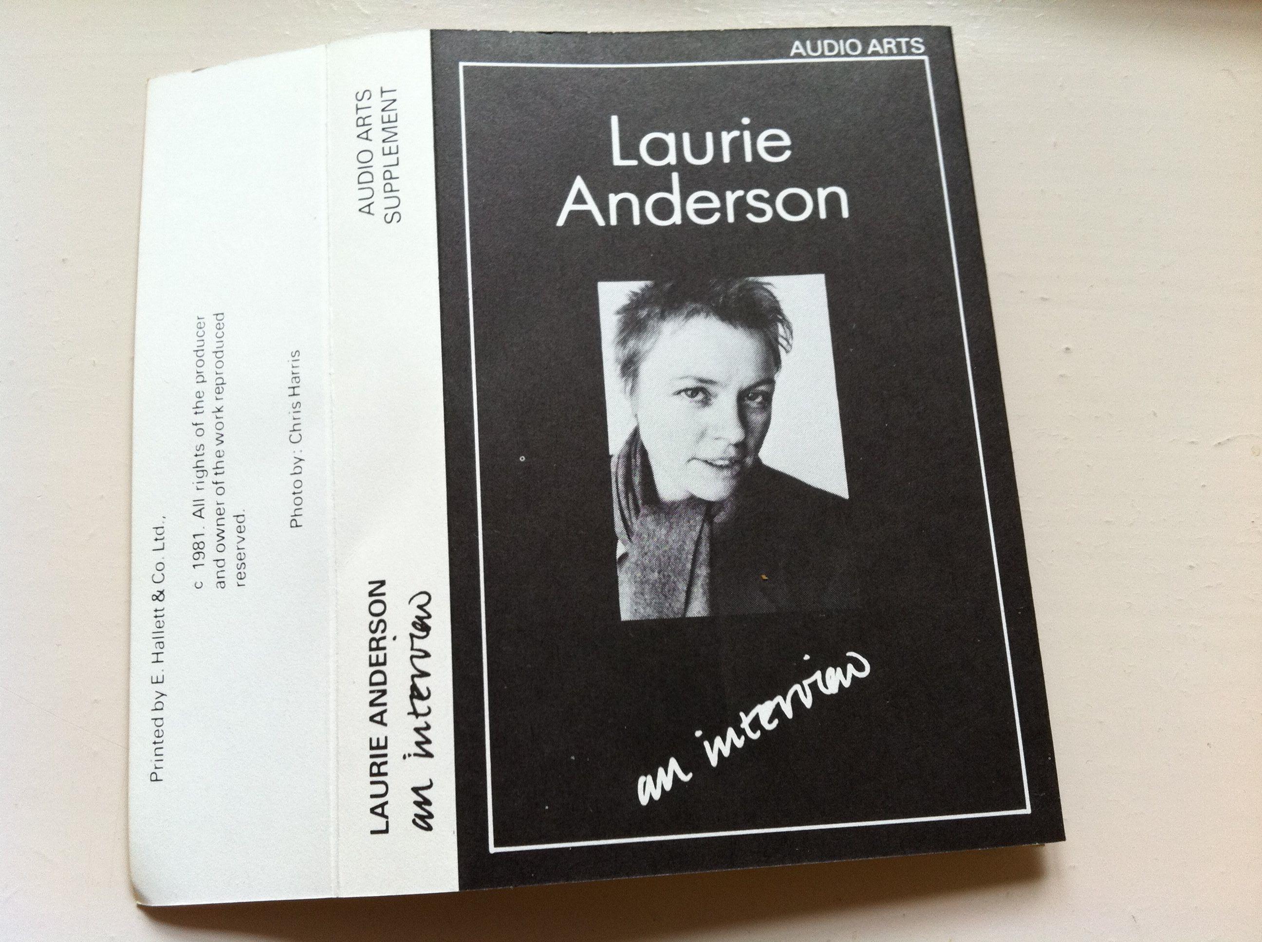 Laurie Anderson Interview Cassette Inlay