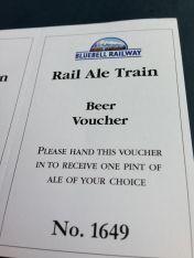 Bluebell Railway Rail Ale Train Beer Voucher