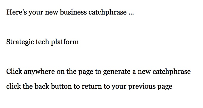Here's what the buzzword generator looks like