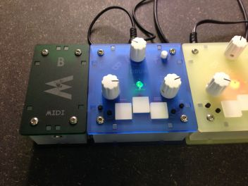 A close up on the Bastl Instruments MIDI module and Drum Module.