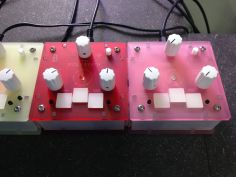 A close up on the Bastle Instruments Poly Synth and Mono Synth chained together