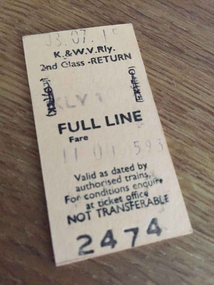 K and WV Railway ticket