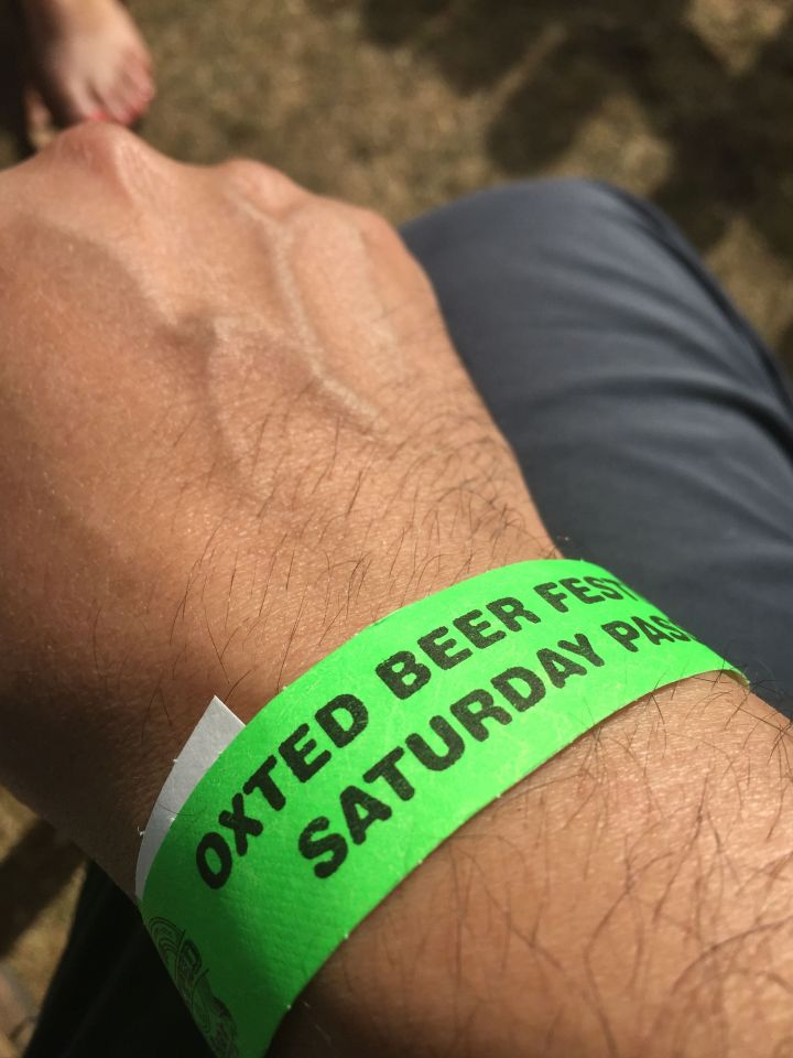 Wrist band from the Oxted Beer Festival.