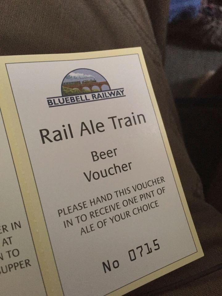 A beer voucher from Rail Ale, 31st July 2015