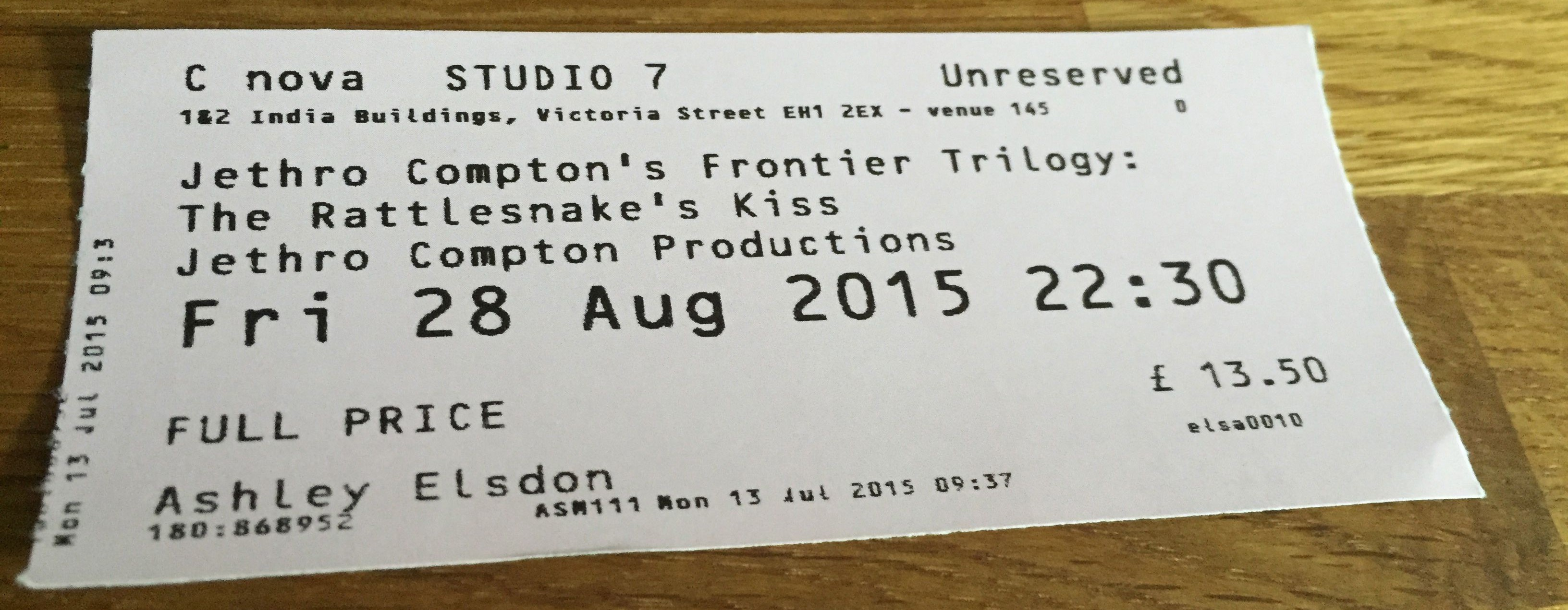 Ed Fringe 2015: Frontier Trilogy - Rattlesnake's Kiss