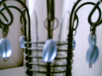 Blue Glass Drops on Vase