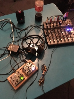 Live set up at rehearsal for Robyn and the hatrix for Cafe Oto